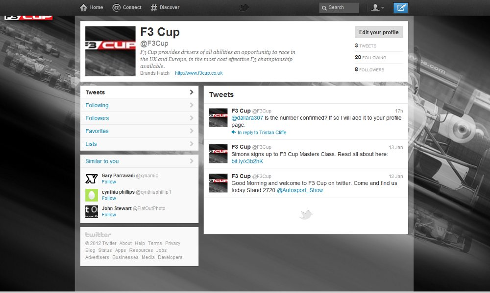 MSVR News - Follow F3 Cup on Twitter